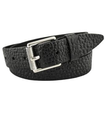 Мужской кожаный ремень J.K. 4 см для джинсов черный 110-135 см  (JK1577)