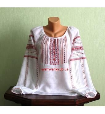 Изысканная женская рубашка вышитая на белом льне ручной работы