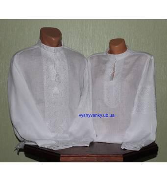 Ексклюзивні парні вишиванки на білому льоні вишиті білим шовком