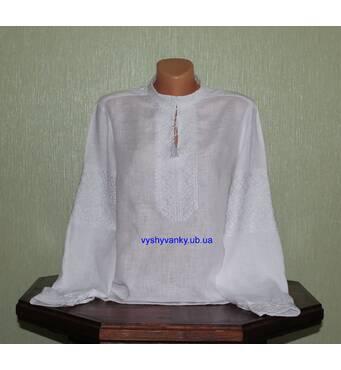 Эксклюзивная женская вышиванка на белом льне вышитая белым шелком