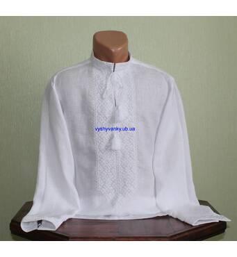 Ексклюзивна чоловіча вишиванка на білому льоні вишита білим шовком