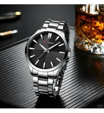 Мужские наручные часы Curren 8322 Silver-Black (+Видеообзор)