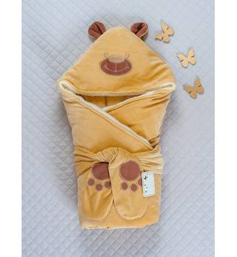 Зимовий конверт-ковдра Lari Little Bear 85х85 см гірчичний