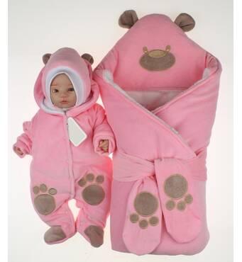Набор на виписку з пологового будинку взимку Lari Little Bear 56 рожевий