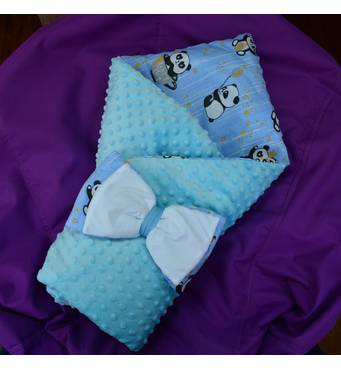Конверт-ковдра Dobryi Son 7-01 Для хлопчика Блакитної з пандами