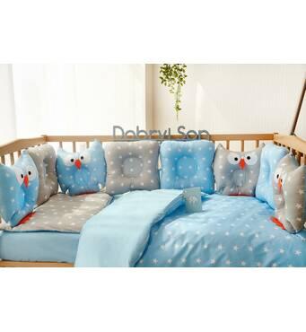 Комплект постільної білизни для новонароджених Совушки 9-01 Для хлопчиків 60х120 см сіро-блакитної