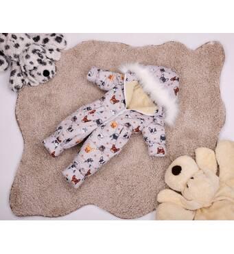 Комбінезон дитячий зимовий на овчині Natalie Look Собачки 128-134 см бежевий