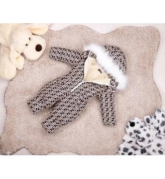 Комбінезон дитячий зимовий на овчині Natalie Look FF 110-116 см бежево-коричневий