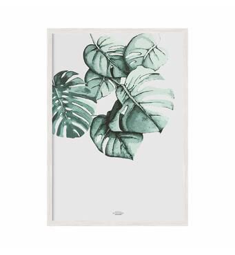 """Постер """"Листя"""" із склом антивідблиску  596x840 мм у білій рамці"""