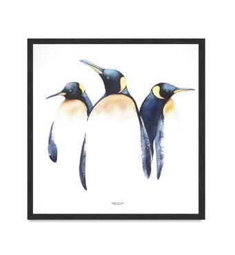 """Постер """"Пінгвіни"""" без скла 45 x 45 см в чорній  рамці"""