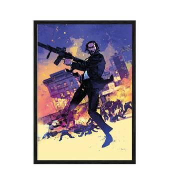 """Постер """"Джон Уик Pop art"""". із склом антивідблиску  420x594 мм в чорній рамці"""