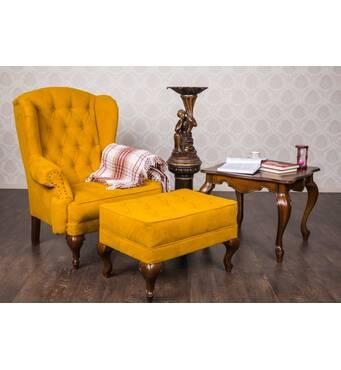 Крісло Террі для кабінету з пуфиком і журнальним столом з масиву дерева
