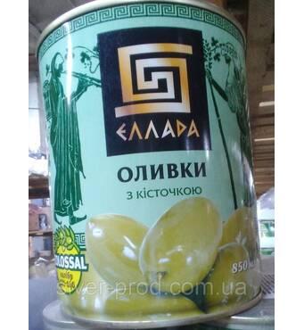 Оливки зелены с косточкой 850г Ellada Colossal же/бы (1/12)