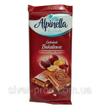 Шоколад Alpinella молочний з арахісом та родзинками 90г (1/25)