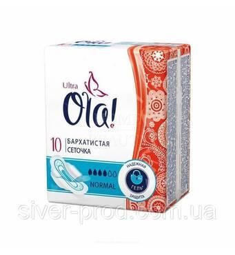 Прокладки Ola! Ultra Normal 4краплі Бархатиста сіточка 10шт (1/24)