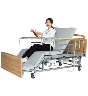 Медицинская электрокровать с туалетом и боковым переворотом MIRID Е04. Кровать для реабилитации инвалида.