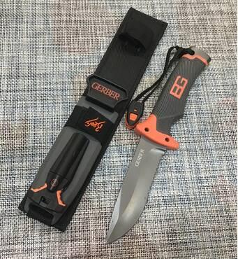 Мисливський ніж GERBFR з кресалом і свистком 25 см / АК-210