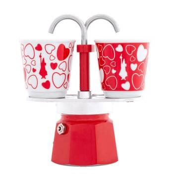 Подарунковий набір Bialetti Set Cuore : гейзерна кавоварка Mini Express (2 cup)    2 кавових скляночки