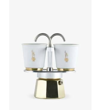 Подарочный набор Bialetti Set: гейзерная кофеварка Mini Express (2 cup) + 2 кофейных стаканчика Gold