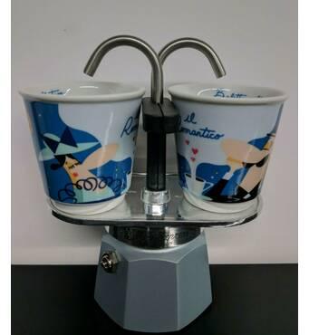 Подарочный набор Bialetti Set Romantico: гейзерная кофеварка Mini Express (2 cup)+2 кофейных стаканчика