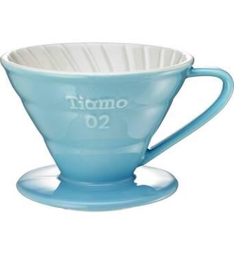 Керамический пуровер Tiamo Ceramic V60 02 Blue для заваривания фильтр-кофе