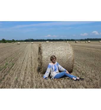 жіноча вишита сорочка ручної роботи на сірому льоні