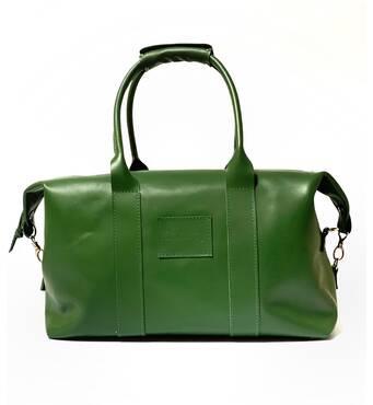 Дорожня зелена шкіряна сумка 40*20*25 см