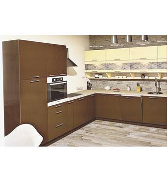 Велика кутова кухня Еко під замовлення бежево-коричнева