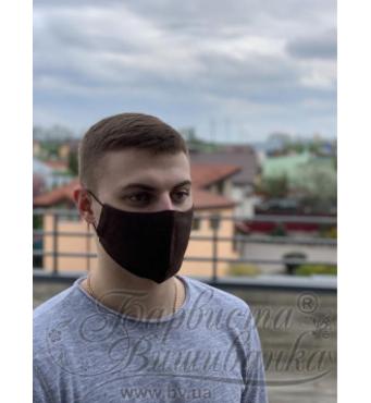 Маска для обличчя захисна багаторазова Барвиста Вишиванка, 100% льон , L (24х13х7 см)