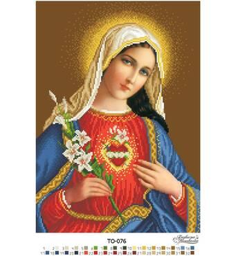 Схема для вишивки бісером Барвиста Вишиванка Ікона Відкрите Серце Марії 31х43 (ТО076ан3143)