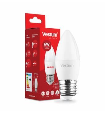 Светодиодная лампа Vestum LED  C37  6W 4100K 220V E27