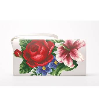Набор для вишивки нитками Барвиста Вишиванка заготівлі зшитого клатча Лілії, троянди, незабудки (КЛ361дМ1301i)