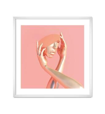 """Постер """"Hands"""" із склом антивідблиску 60 x 60  см у білій рамці"""