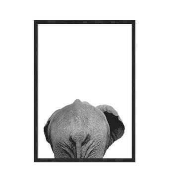 """Постер """"Слон"""" без скла 420x594 мм в чорній  рамці"""