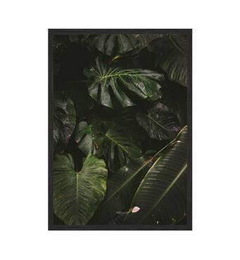 """Постер """"Green leaves"""" із склом антивідблиску  420x594 мм в чорній рамці"""