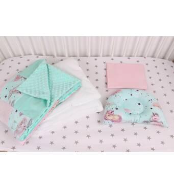 """Комплект в коляску для новонародженого  """"Однороги"""" в м'ятно-рожевому кольорі"""