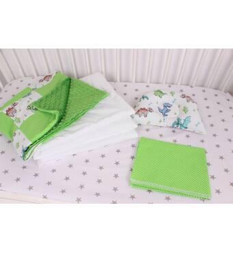 """Комплект в коляску для новонародженого """"Дино"""" в зеленому кольорі"""