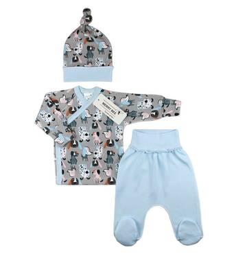 Комплект сорочечка, повзунки і шапочка ТМ Merry Bee Сірий