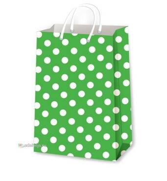 Подарункові пакети горох на зеленому розмір 38 х 24 см (12 шт/уп)