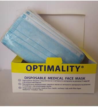 Маска медична одноразова тришарова OPTIMALITY на резинці,50шт/уп