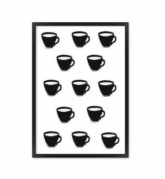 """Постер """"Coffee cup"""" із склом антивідблиску 29.7  x 42 см в чорній рамці"""