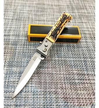 Нож выкидной с костяной ручкой 17см / АК-38