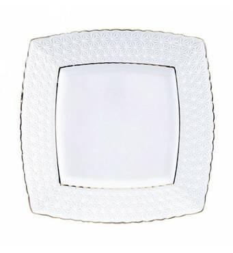 """Тарілка обідня квадратна 9 """", фарфорова, біла Снігова Королева 222723-А (36-916)"""