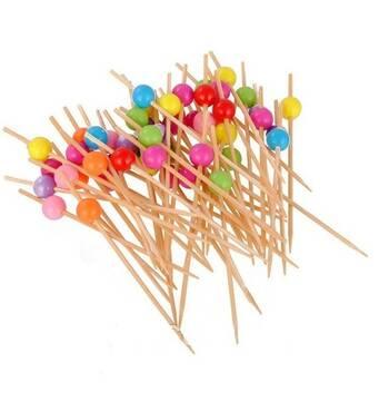 Шпаги для канапе  дерев'яні з пластиковою кулькою L 120 мм  50шт  0278 (44-294)