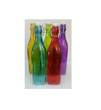 Пляшка  скляна 1 л різних кольорів  з пробкою бугеля  EM 1872 (74-1391)