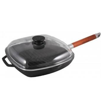 Сковорода чугунная  гриль с крышкой  260 мм Биол 1026 (73-184)