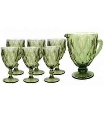 Набір келихів для вина з глеком  Смарагд зелений    (72-60)
