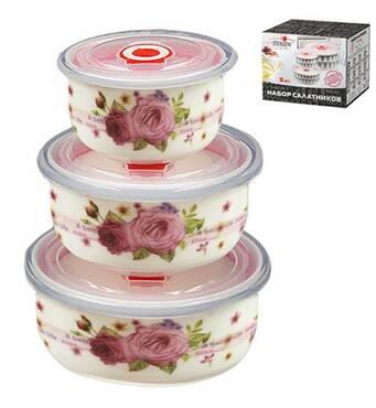 Набір салатників з кришкою   3 предмети   300/450/1000 мл  МС2702 (45-899)