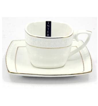 Чашка чайная  с блюдцем 240 мл  фарфоровая , белая  Interos Снежная Королева 507009-А (36-915)