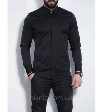 Рубашка мужская приталенная, длинный рукав S, М, L, XL,XXL Турция  Молодежная турецкая рубашка. Черный